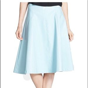 ASTRO Light Blue Womens Faux Leather A-Line Skirt